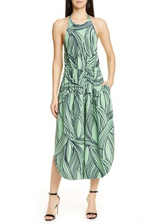 Tibi Zebra Print Halter Silk Dress