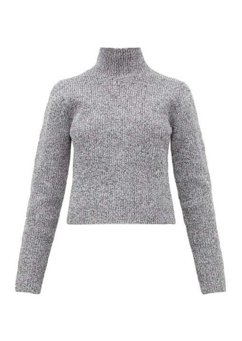 Tibi Zip-through high-neck ribbed sweater