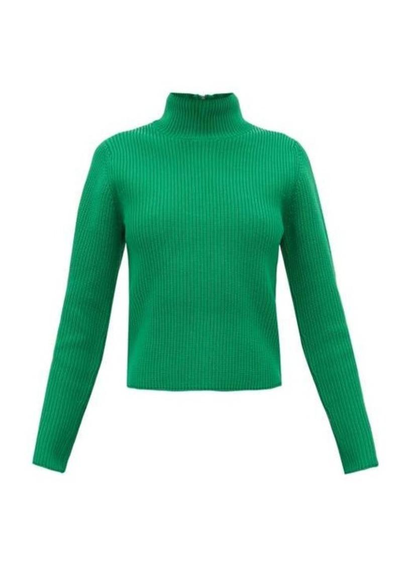 Tibi Zip-through roll-neck ribbed sweater