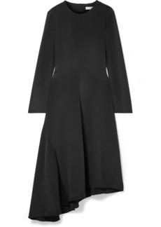 Tibi Tie-back Asymmetric Silk Midi Dress