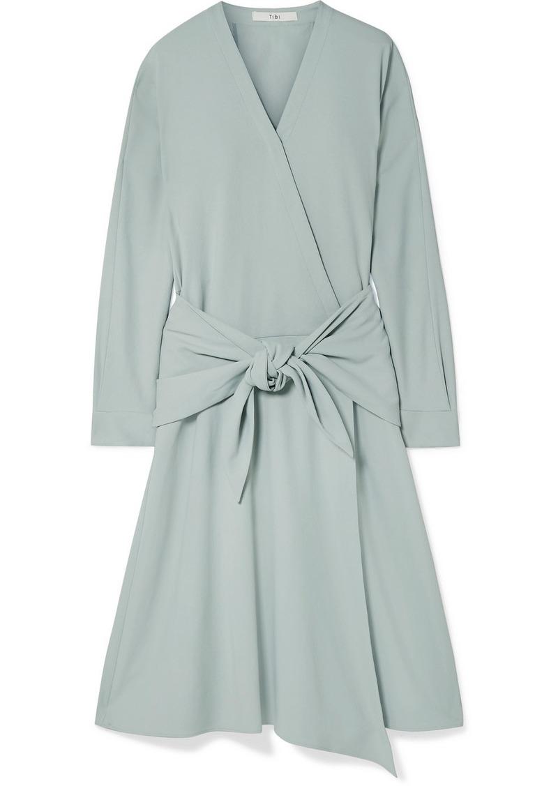 Tibi Tie-front Wrap-effect Crepe Midi Dress