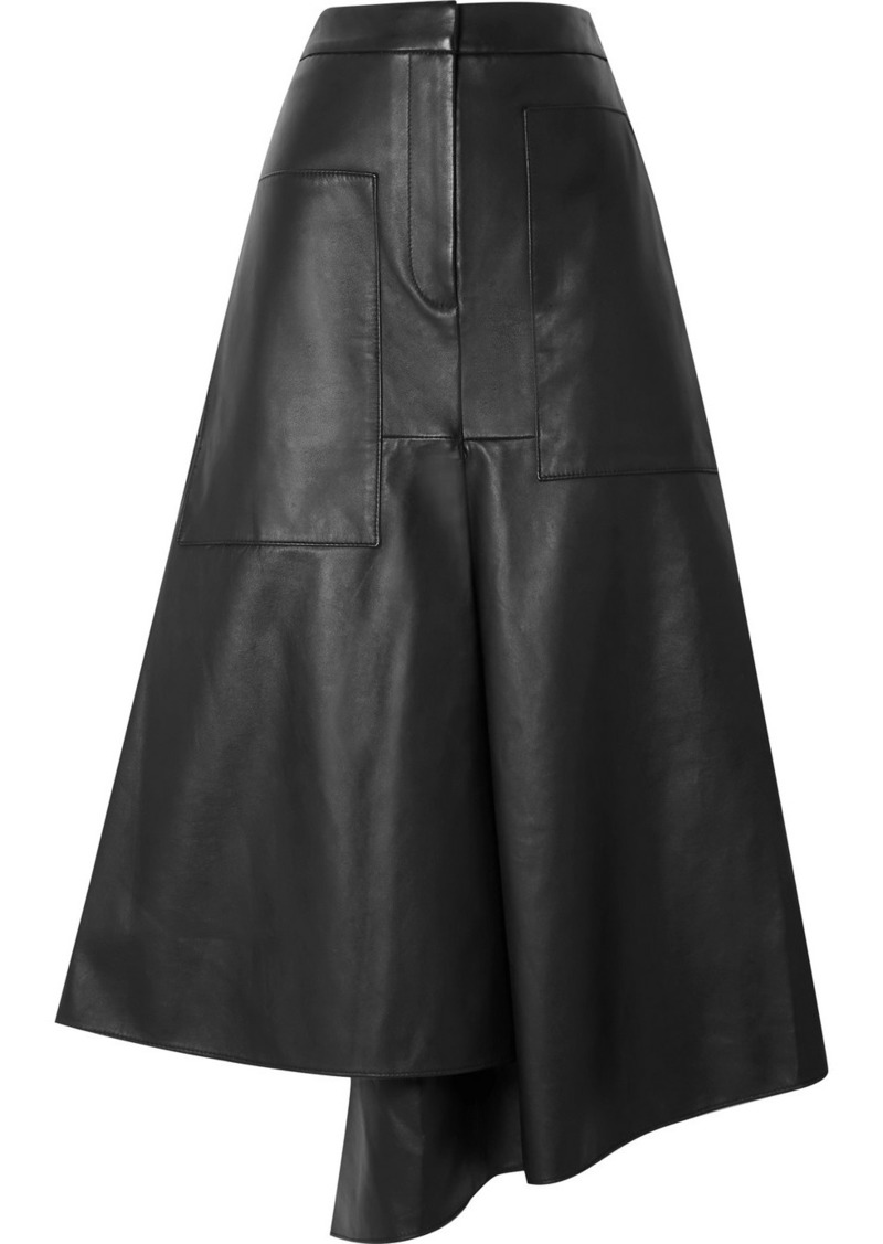 Tibi Tissue Asymmetric Leather Midi Skirt