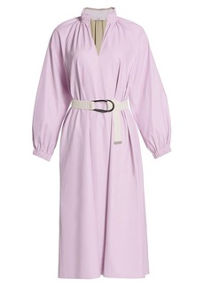 Tibi Tissue Faux Leather Belted Dress