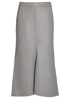 Tibi Tissue Leather Fluted Midi Skirt