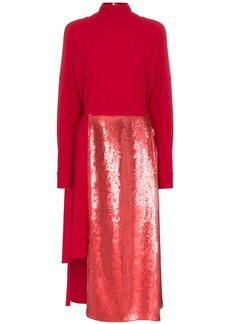 Tibi sequinned-panel asymmetric dress