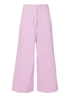 Tibi Twill Wide Leg Cropped Jeans