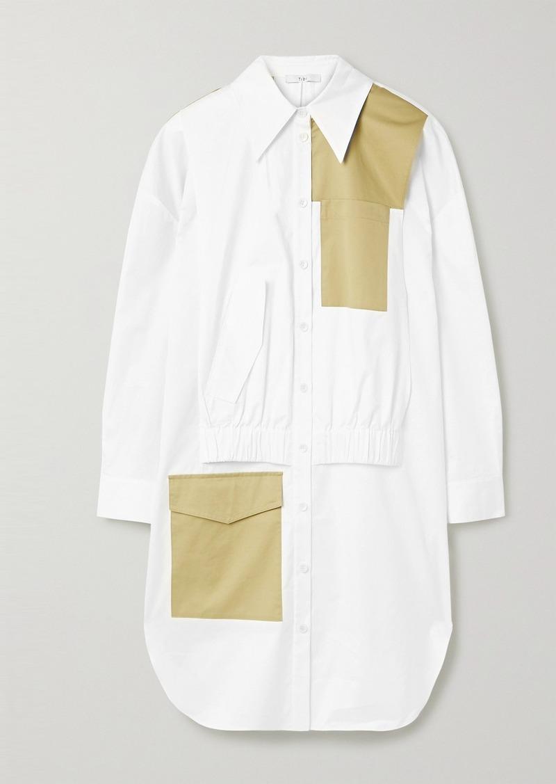 Tibi Two-tone Paneled Cotton-poplin Dress
