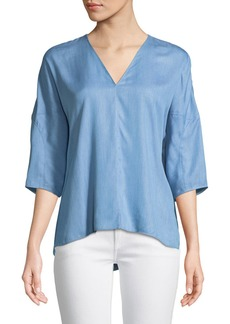 Tibi V-Neck 3/4-Sleeve Chambray Top