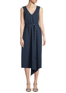 Tibi V-Neck Sleeveless Belted Drape Twill Midi Dress