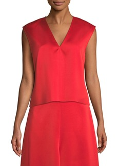 Tibi V-Neck Sleeveless Bonded Satin Top