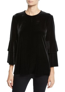 Tibi Velvet Knit Bell-Sleeve Crewneck Top