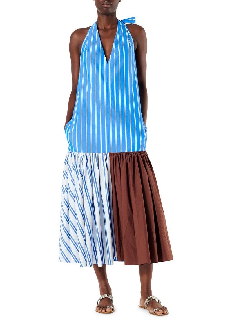 Tibi Vivian Stripe Deep V Halter Dress