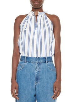 Tibi Vivian Striped Tie-Neck Sleeveless Top