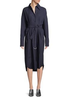 Tibi Watts Long-Sleeve Belted Oxford Shirtdress