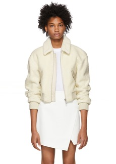Tibi White Cropped Shearling Gus Jacket