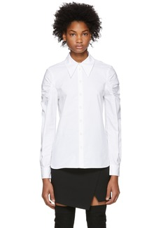 Tibi White Shirred Shoulder Shirt