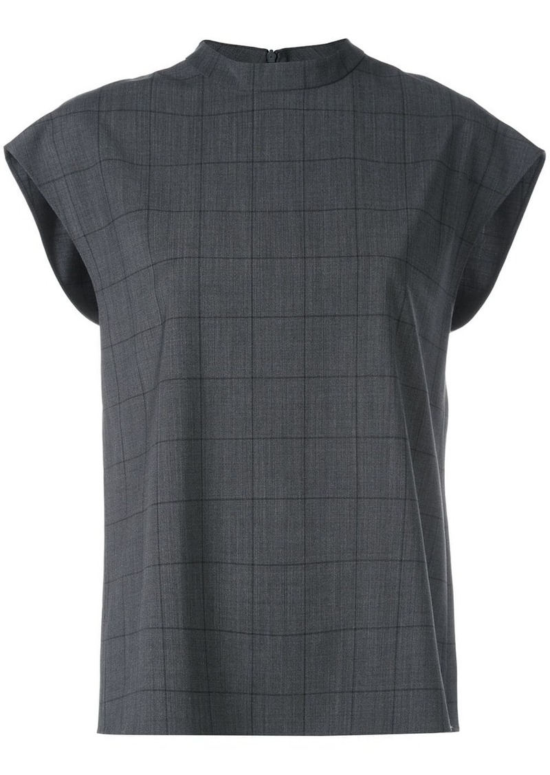 Tibi windowpane sleeveless top