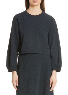 Women's Tibi Eclipse Crop Pique Sweatshirt