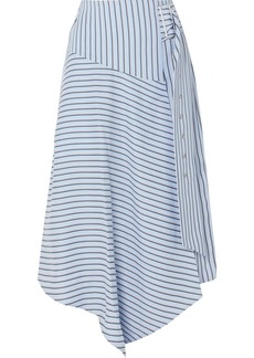 Tibi Wrap-effect Striped Poplin Midi Skirt