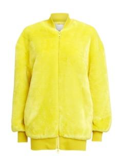 Tibi Yellow Faux Fur Zip Up Track Jacket