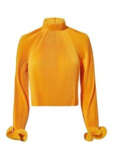Tibi Yellow Pleated Crop Top