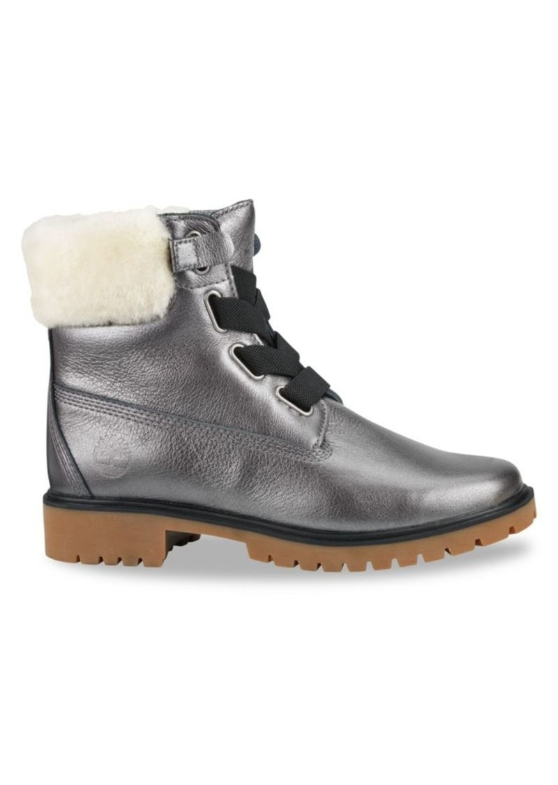 Timberland Jayne Convenience Shearling-Trimmed Leather Boots