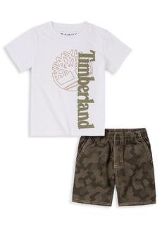 Timberland Little Boy's 2-Piece Graphic T-Shirt & Camouflage-Print Shorts Set
