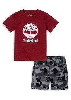 Timberland Little Boy's 2-Piece Logo T-Shirt & Camouflage-Print Shorts Set