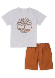Timberland Little Boy's 2-Piece Logo T-Shirt & Solid Shorts Set