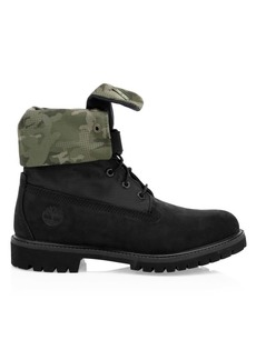 Timberland Premium Camo Print-Trim Leather & Canvas Combat Boots