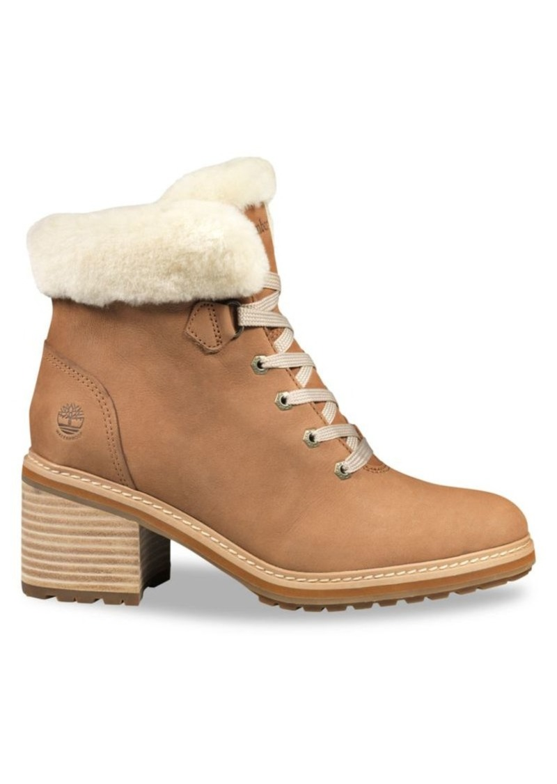 Timberland Sienna Shearling-Trimmed Leather Hiking Boots