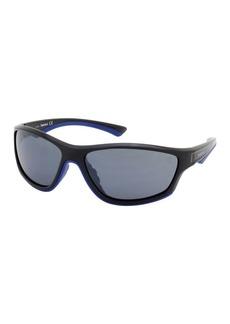 Timberland 63mm Rounded Rectangular Wrap Sunglasses