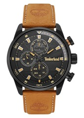 Timberland 'Henniker II' Chronograph Leather Strap Watch, 46mm