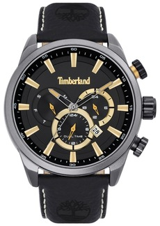 Timberland Men's Black Leather Strap Watch 46mm