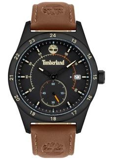 Timberland Men's Brown Leather Strap Watch 45mm