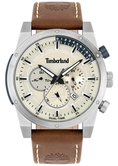 Timberland Men's Brown Leather Strap Watch 46mm