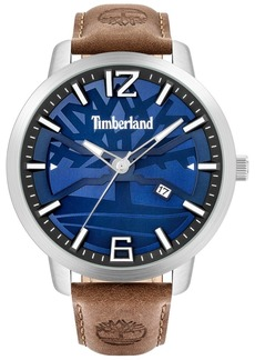 Timberland Men's Brown Leather Strap Watch 48mm