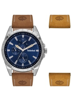 Timberland Men's Brown Leather Strap Watch 48mm Gift Set