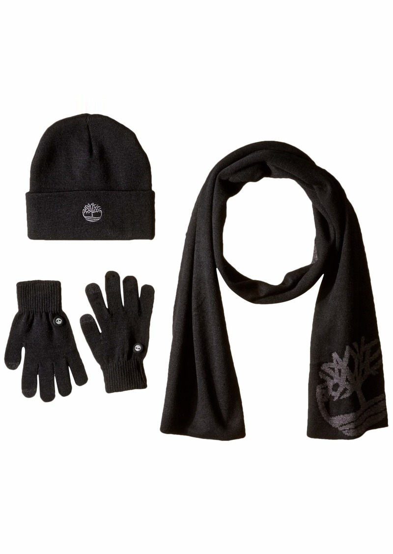 Timberland Men's Double Layer Scarf Cuffed Beanie & Magic Glove Gift Set black