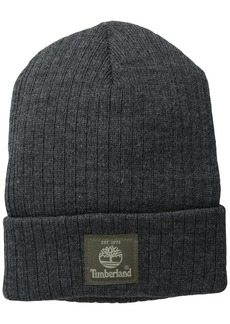 Timberland Men's Heathered Ribbed Watch Cap with Patch Logo