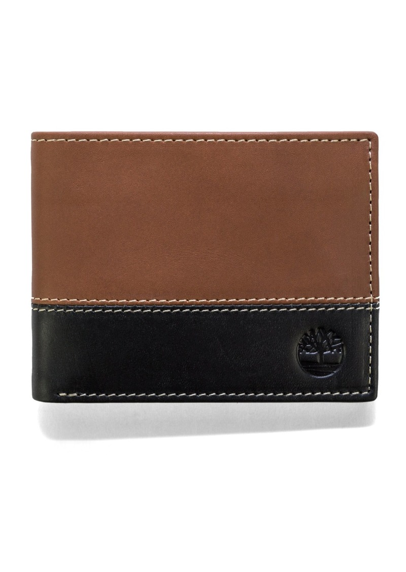 Timberland Men's Hunter Leather Passcase Wallet Trifold Wallet Hybrid
