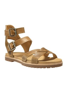 Timberland Natoma Textured Leather Ankle-Strap Sandals