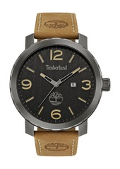 Timberland 'Pinkerton' Leather Strap Watch, 50mm