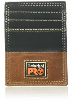 Timberland PRO Men's Leather Front Pocket Wallet with Money Clip Accessory teak