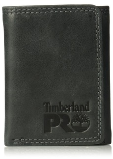 Timberland PRO Men's Leather RFID Trifold Wallet with ID Window black/brandy