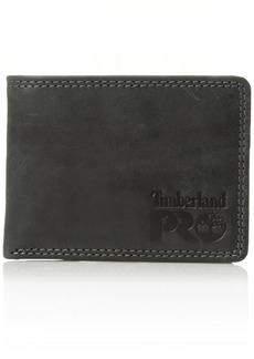 Timberland PRO Men's Leather RFID Wallet with Removable Flip Pocket Card Carrier black/brandy