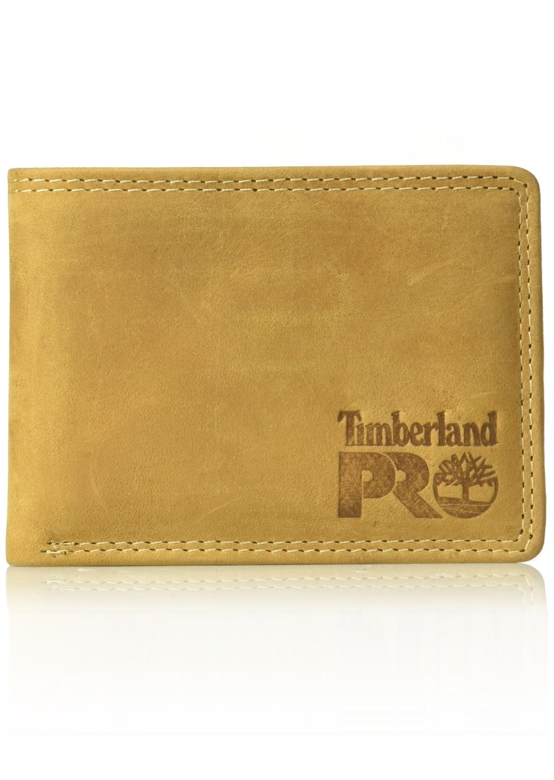 Timberland PRO Men's Leather RFID Wallet with Removable Flip Pocket Card Carrier wheat/Pullman