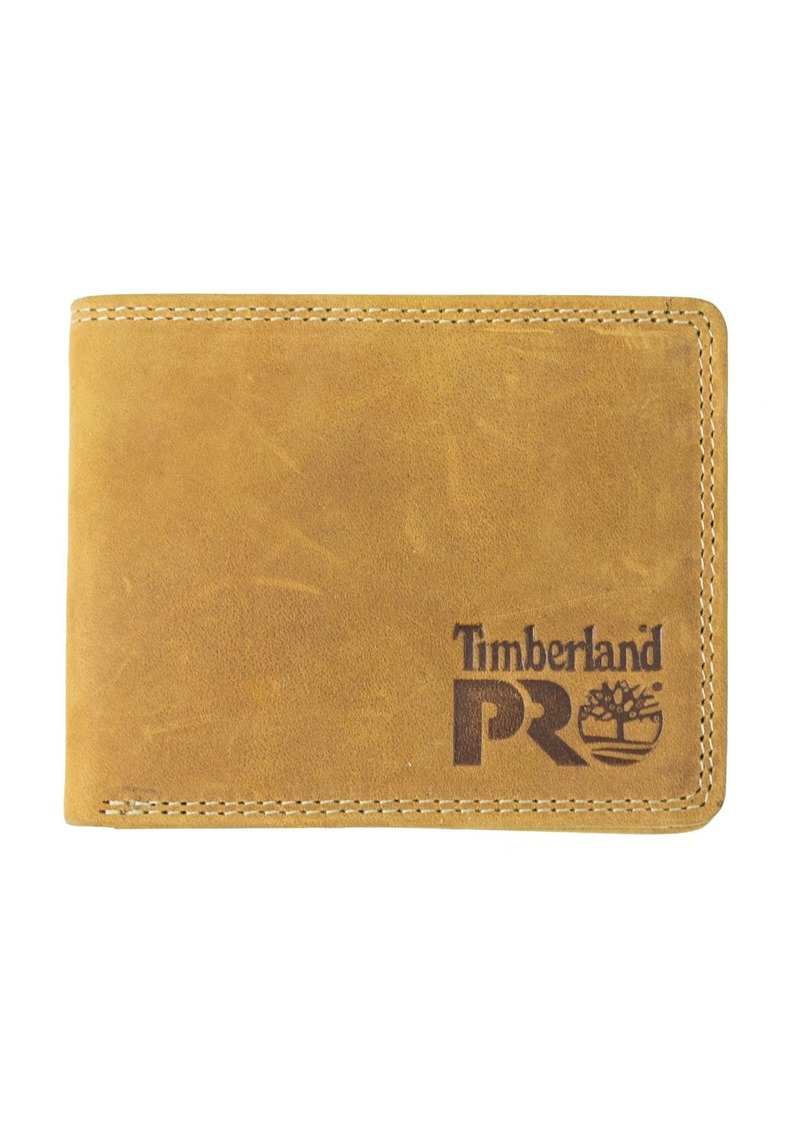 Timberland PRO Men's Slim Leather RFID Bifold Wallet with Back ID Window