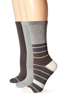 Timberland Women's Stripe and Solid Crew Sock 3-Pack Assorted