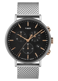 Timex Men's Fairfield Chronograph Stainless Steel Mesh Band Watch, 41mm